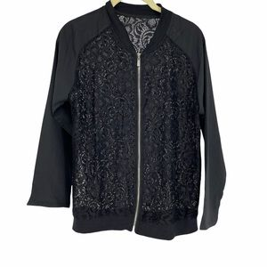 Black solid sleeves sheer lace zippered layer